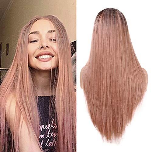 YMHPRIDE Larga naranja rosa recta peluca moda 2 tono resistente al calor sintético Ombre pelucas para mujeres 22 pulgadas