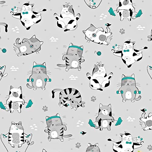 Pingianer 100 x 160 cm, 100% algodón, tejido de algodón para gatos, para niños, por metros, artesanía, costura, Gato Fitness Turquesa, 100 x 160 cm
