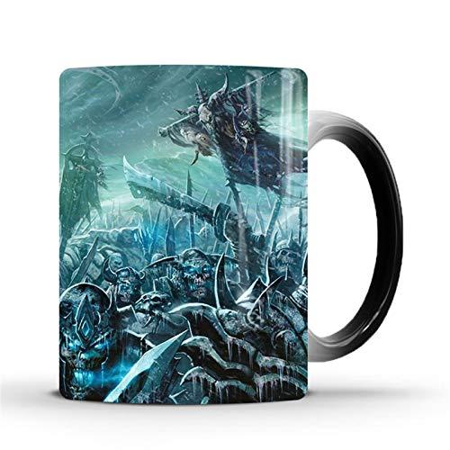Taza de la novedad, World of Warcraft Decoloration Taza de café Caballero de la muerte Taza Color Negro Sensible Calor Cambiante 12 OZ Café Taza de té