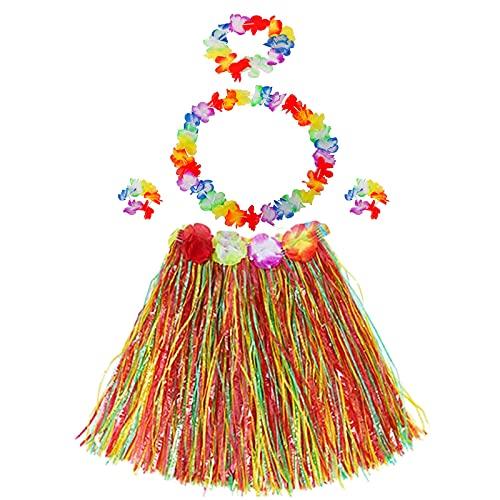 Disfraz Hawaiano,3 Juegos Falda de Hierba Hawaiana Incluyen 3 Faldas de Hierba Hula+3 Guirnaldas de Cuello+3 Diademas+6 Pulseras Leis de Flores para Fiesta de Cumpleaños de Moana Luau Tropical
