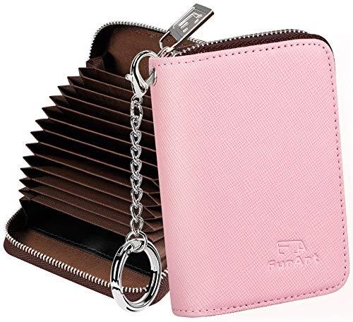 FurArt Credit Card Wallet, Zipper Card Cases Holder for Men Women, RFID Blocking, Key Chain,Compact Size