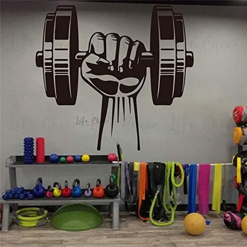 GYM Fitness Sports Logo Sign Levantamiento de pesas Mancuernas Entrenamiento Entrenamiento Etiqueta de la pared Vinilo Calcomanía del coche Sala de estar Club de culturismo Decoración del hogar M