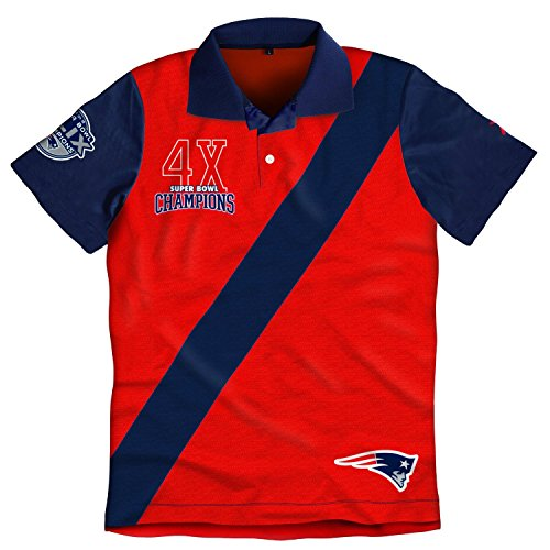 New England Patriots Super Bowl XLIX 49 Champions 4X Commerative Rugby Short Sleeve Polo Shirt (XL)