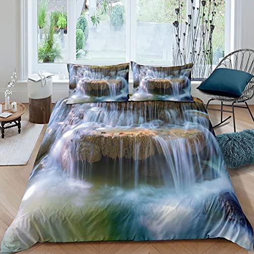 Juego de ropa de cama 3D cascada para niñas y niños Tailandia funda de edredón hermosa natural cubierta de edredón paisaje colcha cubierta King Bedding Collection 3 piezas