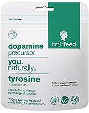 brain feed tyrosine | 60 capsules | 750mg | dopamine supplements | Manufactured in the UK