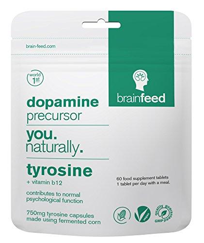 brain feed | Integratore naturale di l tirosina | 750mg L-Tirosina Compresse (60) | Integratore vegetale di dopamina nootropica | Mood Booster | Focus, energia, attenzione e motivazione