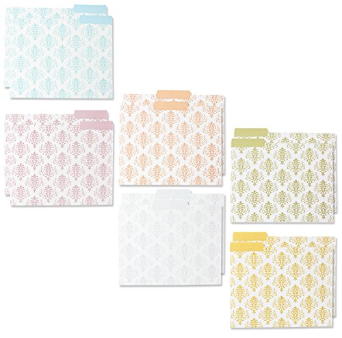 Decorative File Folders - 12-Count Colored File Folders Letter Size, 1/3-Cut Tabs, Includes 6 Cute Damask Patterns, 2 of each, File Filing Organizers, 9.5 x 11.5 Inches