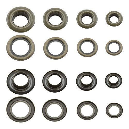 GETMORE Parts Ochielli di Ottone, Occhielli Metallici con rondelle, Ottone, Inossidabile (Antico, 10 mm)