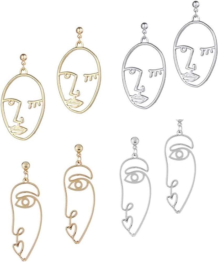 Long Beach Mall Face Earring Set Women Girls Silver Gold Picasso Ranking TOP10 Earrings f