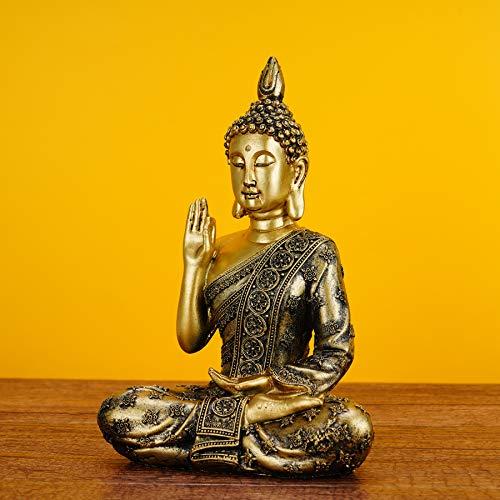 SOPRETY Buddha Yoga-Zen seduto in poliresina scultura Buddha, statuetta decorativa per soggiorno, camera da letto, bagno, ufficio, studio, giardino di meditazione – Buddha con gesto di insegnamento