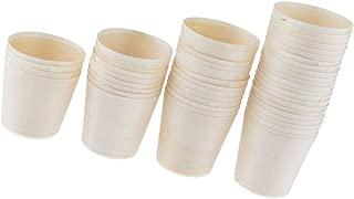 50 Piezas Vasos de Madera Desechables Para Canapés, Aperitivos, Postres y Tapas Accesorio Decoración para Fiesta - 5.5x6cm