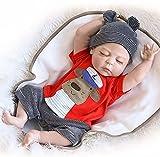 AIBAOLIAN Charmant 18 Pouce 48cm Reborn Poupée Bébé Silicone Complet du Corps Réaliste Fait Main Garçon Endormi Tétine Aimant Cadeaux de Noël Reborn Doll Toddler Baby