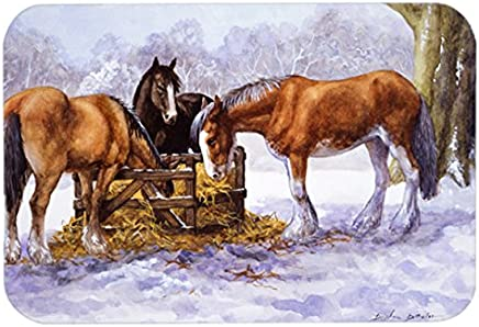 "Caroline's Treasures BDBA0297LCB""Horses Eating Hay in The Snow"" Glass Cutting Board, Large, Multicolor"