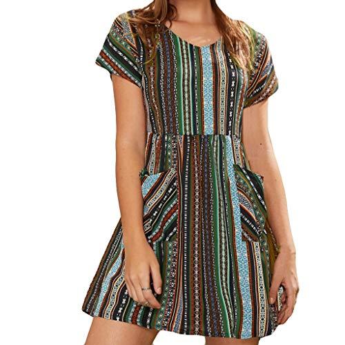 LOPILY Kleid Damen Gestreiftes Hippie Strandkleid für Urlaub Boho Pissee Swing Kleid mit Taschen Sommer A-Linie Kleid Rockabilly Kleid Freizeit Lose Lässiges Kleid Damen (Armeegrün, 44)