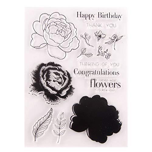 Flores rosas en capas hojas DIY floral claro sellos para hacer tarjetas decoración y DIY Scrapbooking