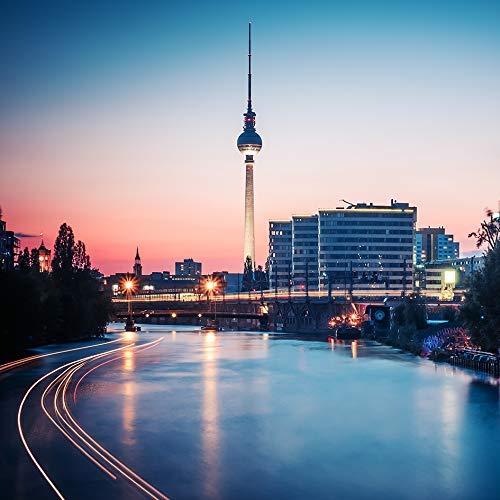 Berligram - Fine Art Fotografie aus Berlin, Spree-Skyline, Foto auf Holz, 10x10cm