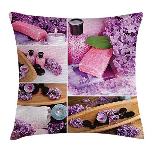 Funda de Cojine Spa Throw Pillow Cojín, Spa aromático con pétalos de color lila Aceites de terapia fresca Sal de baño Jabón Relax Meditación Collage Throw Cojín 45 X 45CM