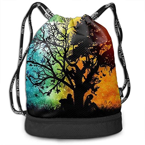 wwoman Polyester Drawstring Bag Theft Proof Water Resistant Large Size Rucksack Large...