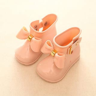 Children Rain Boots Boys and Girls Non-slip Water Shoes Round Toe Slip-on Closure Soft and Flat Sole Comfortable Wear