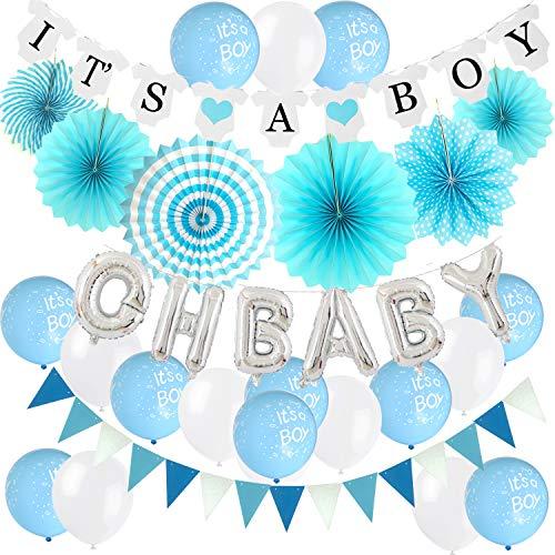 Zerodeco Junge Baby Dusche Dekoration, Blau It's A Boy Girlande Oh Baby Folie Ballons Aufhängen Fächer Girlande Banner und Luftballons für Baby Shower Babydusche