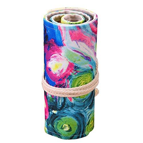 72-Slot Toile Dessin Esquisse Crayons de Couleur Crayon Roll Up Stockage Wrap Organisateur Case Bag Pouch pour l'école Bureau Art Style 1 Beetest®
