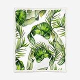 JNBGYAPS Manta de Microfibra Hojas de Plantas Verdes Manta del edredón de la Franela del lecho impresión en 3D de la Manta súper Suave, estupenda caliente150x200cm