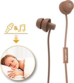 MAXROCK Sleeping Headphones, in-Ear Soundproof Earplug Soft Earbuds with Mic Noise Cancelling Sleep Earphones for Side Sleeper, Insomnia, Snoring, Air Travel, Bedtime Listening… (Coffee)
