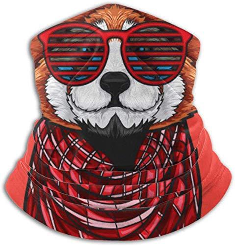 Ezreall Fleece-Nackenwärmer, multifunktionaler Red Panda Hipster-Schal im Modestil und Vollmaske oder Hut, Nackenschutz, Nackenkappe, Skimaske, Halbmaske, Gesicht M