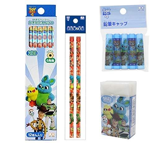 トイストーリー 鉛筆2B 組み合わせ(かきかた鉛筆2B六角軸12本入りを一箱、赤鉛筆 二本、消しゴム一個、キャップ五個入り)2