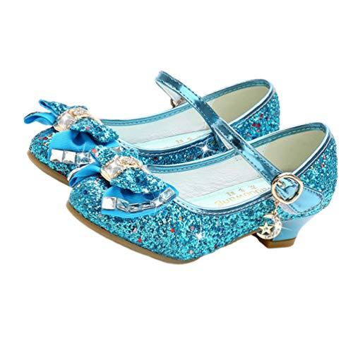 Holibanna Zapatos de Baile para niños Tacones de Gatito con Lentejuelas Brillantes Parte Superior Bailando Calabazas con Bowknot para niña Azul 17.7cm