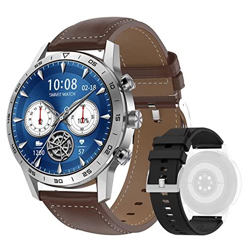 DTNO.I Smartwatch Hombre 1,39'' IPS Pantalla a Color Completa con llamadas Bluetooth Pulsómetro Podómetro Pulsera Actividad Reloj Inteligente para Android e iOS (Plateado)