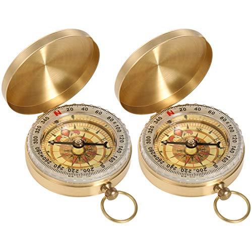FANTESI 2 Stück Messing Kompass Outdoor, Portable Messingkompass Taschenkompass, Kompass Navigation Tools mit Leuchtziffern für Camping, Wandern und andere Outdoor Aktivitäten