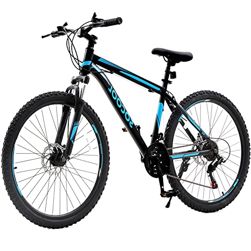 26 Inch Mountain Bike, 21 Speed Bicycle with Full Suspension, Road Offroad City Unisex Bike for Mens or Womens Outroad Men's MTB Cycling Racing with Double Disc Brake for Adult Teens [US in Stock]