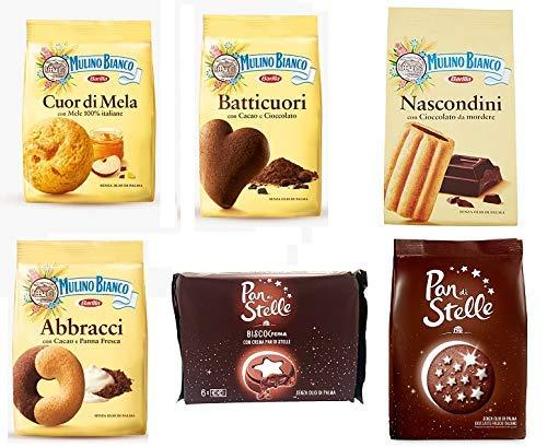 TESTPAKET Mulino Bianco Kekse Italien cookies 6 Vielzahl von Keksen Biscocrema Pan di Stelle Abbracci Batticuori Nascondini Cuor di mela