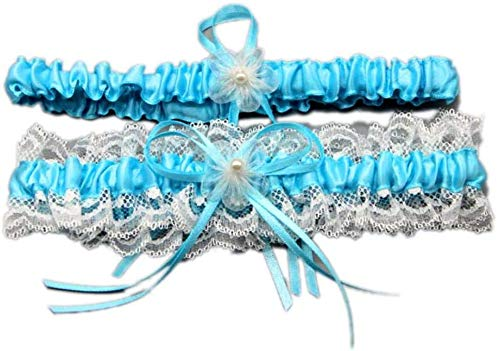 LYDIANZI 2pcs Liga De Bodas para Anillo De Pierna Nupcial Satin Bow Bow Plus Tamaño Stretch PRAG LEACE LIGTERS para Mujeres(Size:2pcs,Color:Cielo Azul)