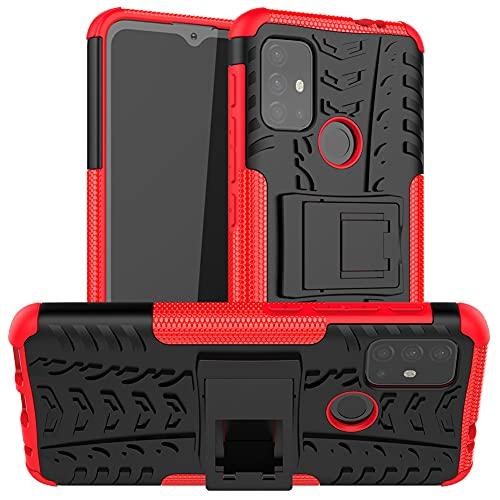 GARITANE Funda Compatible con Motorola Moto G30/G10,Híbrida Rugged Armor Case Back Cover Choque Bumper Carcasa con Kickstand (Rojo)