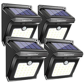 28 LEDs Solar Lights Outdoor Luposwiten Solar Motion Sensor Lights Wireless Security Lights 400 Lumen Waterproof Solar Powered Lights for Steps Yard Garage Porch Patio(4-Pack)
