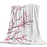 Big buy store Cherry Blossoms Luxurious Flannel Throw Blanket for Bedroom Living Room Sofa Couch Chair Lightweight Warm Fleece Blankets for All Seasons Pink -40 x 50 inch