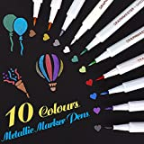 Pennarelli metallici, set di 10 colori assortiti Penna per vernice per libro degli ospiti Carta per matrimonio in vetro Album fotografico Scrapbook Plastica Legno Ceramica(Punta di pennello fine)