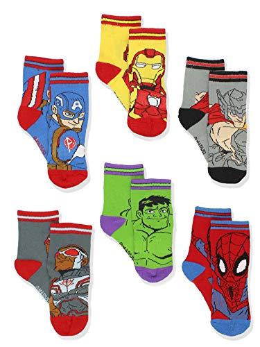Super Hero Adventures Boys Toddler 6 pack Crew Socks (5-7 yrs, Avengers Multi)