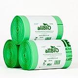 allBIO 6 Litri x 150 Sacchetti Sacchetti Pattumiera Organico 100% Biodegradabili e Compostabili 6 Litri/Sacchetti Contenitore Rifiuti