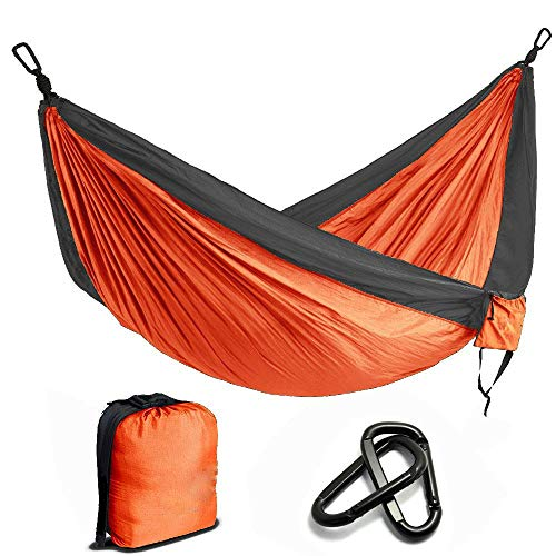 Gifftiy balkon hangmat hangmatten voor bomen Draagbare Nylon Parachute hangmat Camping Survival Tuin Jacht Vrije tijd Hamac Reizen Dubbele Persoon ORANJE