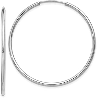 14K White Gold Continuous Endless Hoop Earrings, (1.5mm Tube)