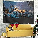 Facbalaign Palm Tree Starry Sky - Tapiz de pared con diseño de plantas (150 x 150 cm), color blanco