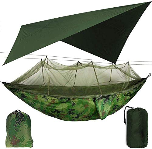 WHL.LL Camping Hammock with Net Mosquito, Portable Nylon Hammock for Backpacking Camping Travel, Double Single Hammocks for Camping,A
