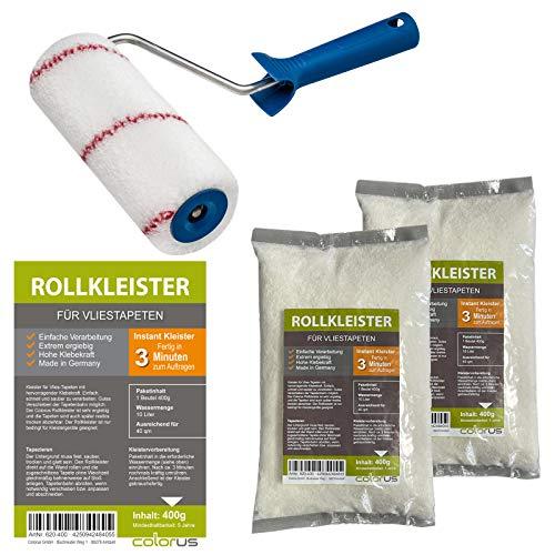 Kleisterroller 18cm + 2 Stück Rollkleister für Vliestapeten à 400g für ca. 80qm Tapeten