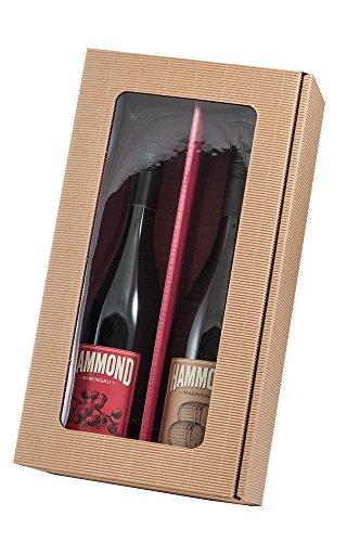 5 Stück Set! Neutraler 2er Weinpräsentkarton mit Sichtfenster. Geschenkkarton für 2 Flaschen Wein, außen Natur, innen Rot, Folienfenster im Deckel. Exklusiver Präsentkarton für Ihr Weingeschenk