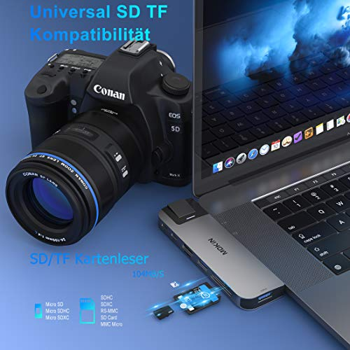 MOKiN USB C Hub für MacBook Pro 2020/2019/2018, MacBook Air 2020/2019/2018, 8 in 2 USB C Multiport Adapter mit Thunderbolt3 Port, 4K@30Hz HDMI, RJ45 Gigabit Ethernet, USB 3.0, SD/TF Kartenleser