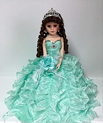 """Jmisa 18"""" Umbrella Porcelain Dolls Quince Anos Mint Green"""