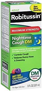 Robitussin Adult Maximum Strength Nighttime Cough DM Max (8 Fl Oz Bottle), Cough Suppressant & Antihistamine, Blue Raspberry Flavor